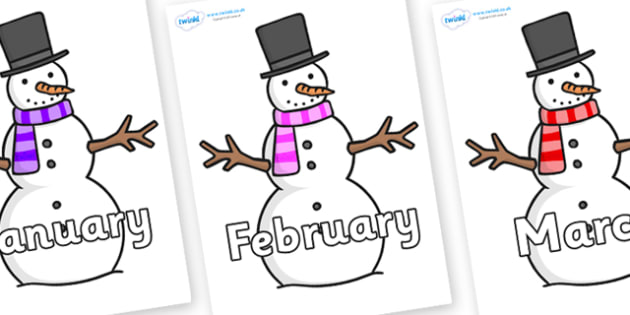 Months of the Year on Snowman - Months of the Year, Months poster, Months display, display, poster, frieze, Months, month, January, February, March, April, May, June, July, August, September
