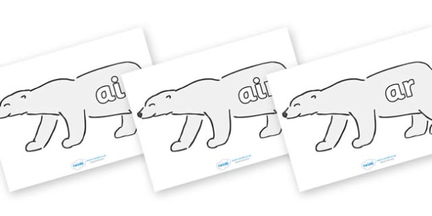 Phase 3 Phonemes on Polar Bears - Phonemes, phoneme, Phase 3, Phase three, Foundation, Literacy, Letters and Sounds, DfES, display