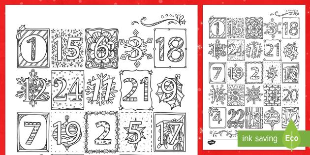 Mindfulness Elegant Christmas Advent Calendar Colouring Page - mindfulness, colouring, advent, Christmas, snowflakes