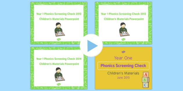 Year 1 Phonics Screening Check Childrens Material PowerPoint Pack