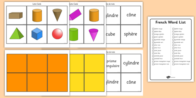 3D Shape Bingo French - french, 3D shapes, Shape Bingo, Learning Shapes, Shape Game, Naming Shapes, Shape Properties