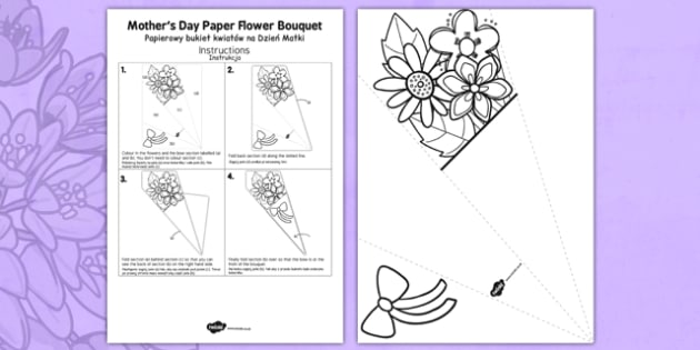 Mother's Day Paper Flower Bouquet Polish Translation - polish, bouquet, mothers day, paper