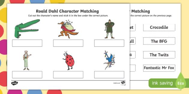 Roald Dahl Character Matching SEN Activity Sheet, worksheet
