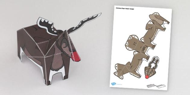 Christmas Paper Model Rudolph - Christmas, Rudolph, model