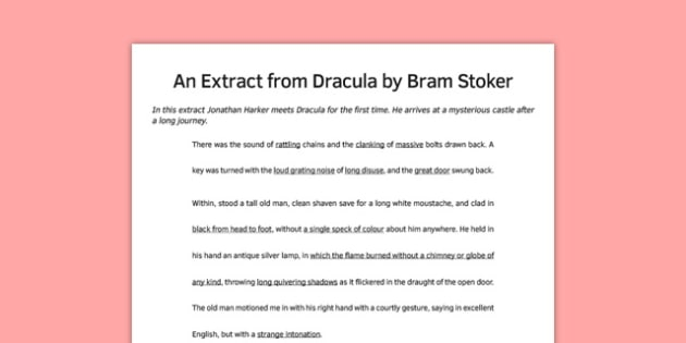 Dracula Extract Lower Ability - dracula, extract, story, ks3, bram stoker, vampire