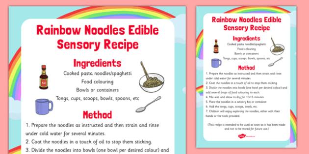 Rainbow Noodles Edible Sensory Recipe - rainbow noodles, edible, sensory, recipe