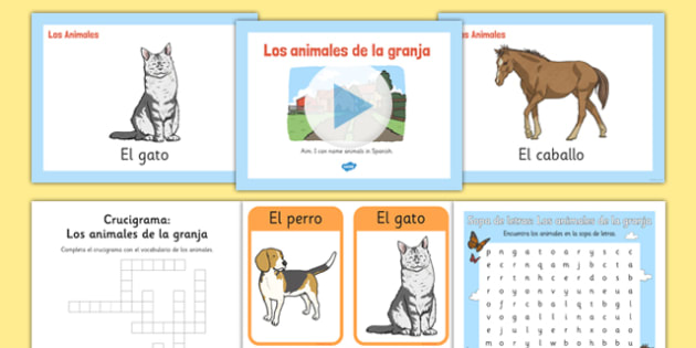 Twinkl Farm Animal Colouring Pages : Farm animals in spanish resource pack eal translated