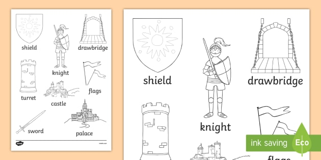 Castles and Knight Words Colouring Sheet - castle, knight, colour