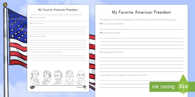 My Favorite American President Writing Activity Sheet - American Presidents, American History, Social Studies, Barack Obama, Lyndon B. Johnson, Franklin D.