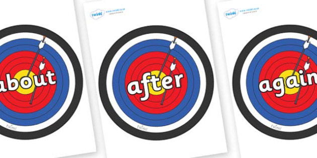 KS1 Keywords on Archery Targets - KS1, CLL, Communication language and literacy, Display, Key words, high frequency words, foundation stage literacy, DfES Letters and Sounds, Letters and Sounds, spelling