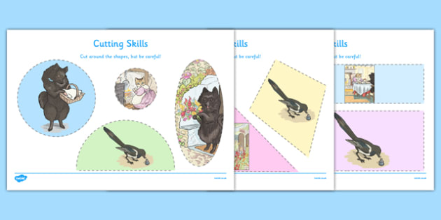 Beatrix Potter - The Tale of the Pie and the Patty-Pan Cutting Skills Activity - beatrix potter, pie, patty pan, cutting skills