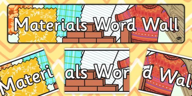 Materials Word Wall Display Banner - material, word wall, display