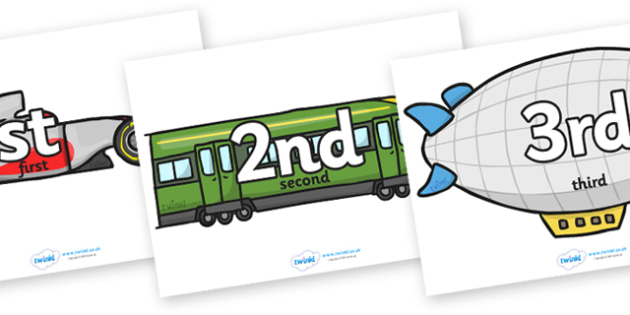 Ordinal Number Posters (Vehicles) - Display posters, counting, 1st, 2nd, 3rd, first, second, third, foundation stage numeracy, ordinal, numeracy, vehicles