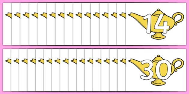 0-30 On Magic Lamps Display Cut Outs - numeracy, numbers, maths, display, magic, fantasy, genie, aladdin, counting
