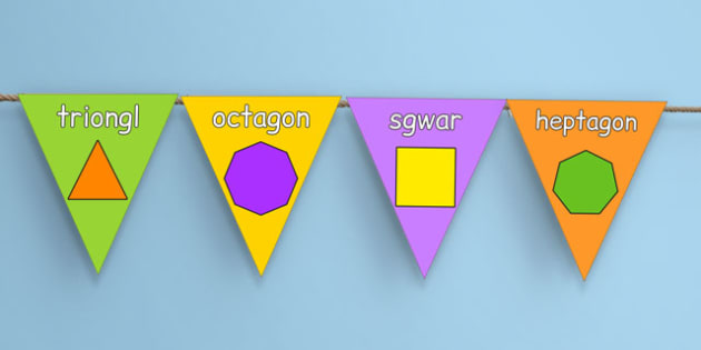2D Shape Display Bunting Cymraeg - welsh, cymraeg, 2d shape, display, bunting