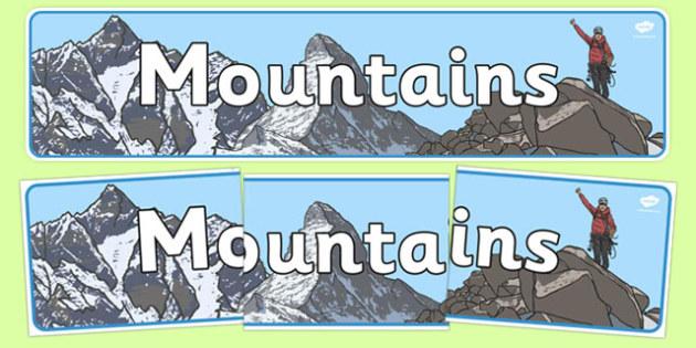 Mountains Display Banner - mountains, mountains of the world, mountain, world, display, banner, sign, poster, Asia, The Himalayans, Mount Everest, The Kilimanjaro, Africa, The Vinson Massif, K2, Mount McKinley, Canada, Aconcagua, Latin America