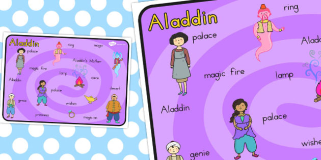 Aladdin Word Mat - Words, literacy, writing, mats, traditional