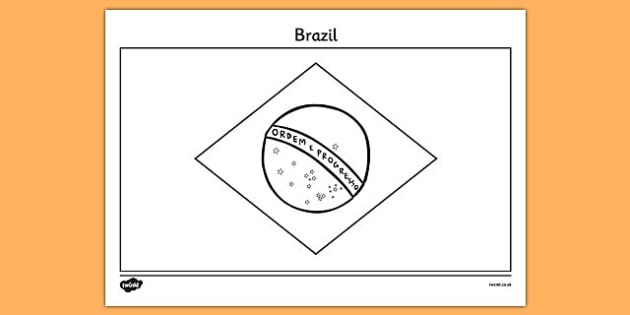 Brazil A4 Colouring Flag - geography, flags, country, colour in