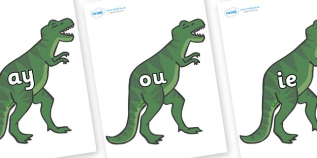 Phase 5 Phonemes on T-Rex - Phonemes, phoneme, Phase 5, Phase five, Foundation, Literacy, Letters and Sounds, DfES, display
