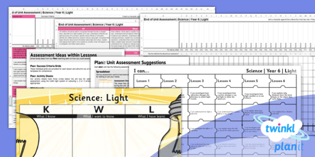Science: Light Year 6 Unit Assessment Pack