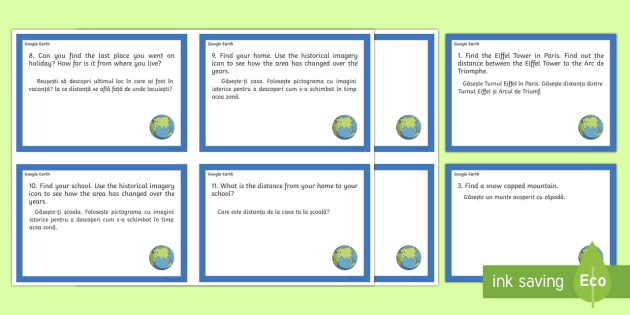 Google Earth Task Cards English/Romanian