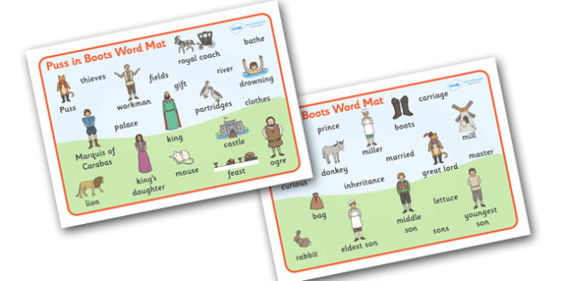 Puss in Boots Word Mat - Puss, cat, in boots, royal, coach, curier, miller, king, king's daughter, word mat, writing aid, mat, donkey, prince,Marquis of Carabas, mill, boots, inheritance, son,  story, traditional tale, story book, story resources