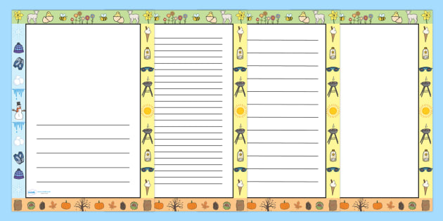 Seasons Page Borders - seasons, page borders, borders, writing