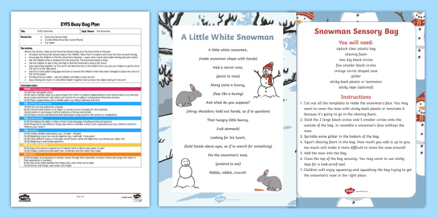 EYFS Puffy Snowman Busy Bag Plan and Resource Pack - The Snowman, Raymond Briggs, Christmas, winter, snow, shaving foam