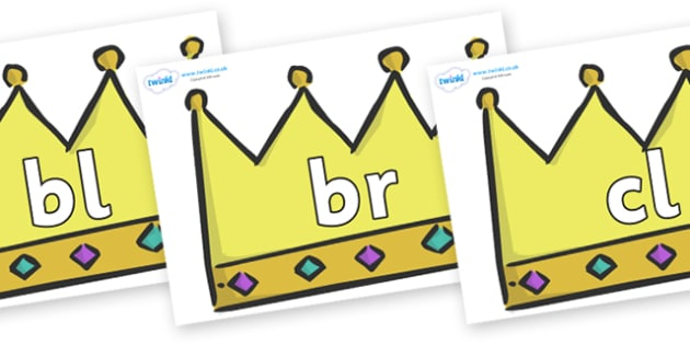 Initial Letter Blends on Crowns (Plain) - Initial Letters, initial letter, letter blend, letter blends, consonant, consonants, digraph, trigraph, literacy, alphabet, letters, foundation stage literacy