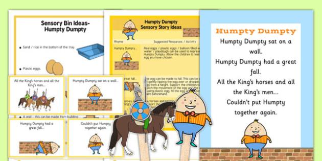 Humpty Dumpty Sensory Resource Pack - Sensory nursery rhymes, early years, autism, early years sensory, sensory story