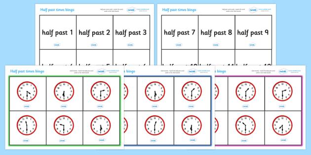 Half Past Time Bingo - Time bingo, time game, Time resource, Time vocaulary, clock face, Oclock, half past, quarter past, quarter to, shapes spaces measures