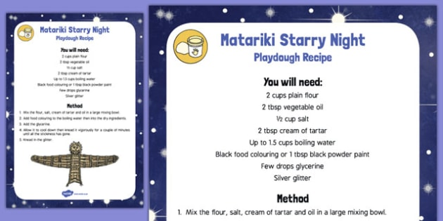 Matariki Starry Night Playdough Recipe - nz, new zealand, starry night, playdough, recipe