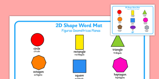 Figuras Geométricas Planas Portuguese Translation - portuguese, 2d shape, word mat, word, mat, 2d, shape