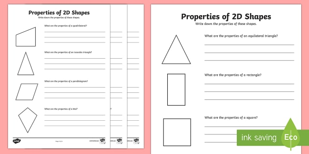 Year 6 Properties of 2D Shapes Activity Worksheets - shapes