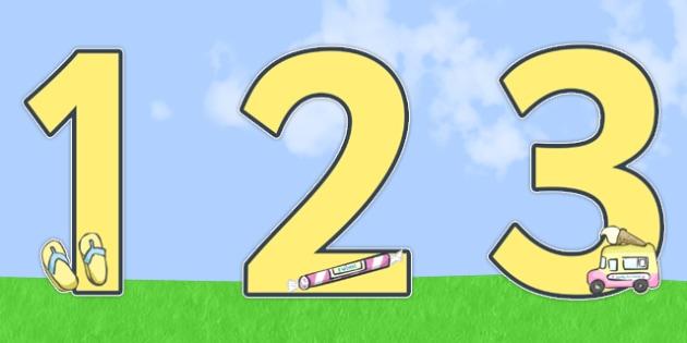 0-9 Display Numbers (Summer) - Display numbers, 0-9, numbers, display numerals, Summer, display lettering, display numbers, display, cut out lettering, lettering for display, display numbers