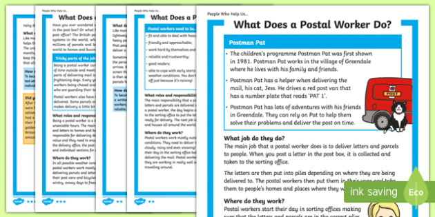 What Does A Postal Worker Do? Differentiated Fact File