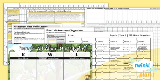 French: All About Ourselves Year 5 Unit Assessment Pack