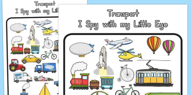 Transport Themed I Spy With My Little Eye Activity - australia