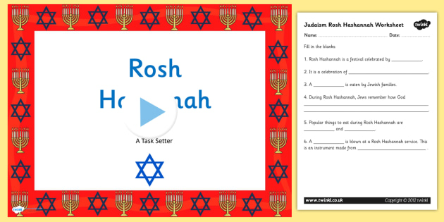 Judaism Rosh Hashanah Information PowerPoint and Worksheet - judaism, rosh hashanah, information, worksheet, judaism powerpoint, rosh hashanah powerpoint, judiasm