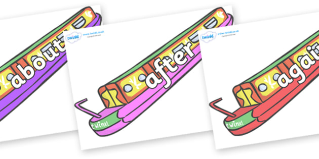 KS1 Keywords on Narrow Boats - KS1, CLL, Communication language and literacy, Display, Key words, high frequency words, foundation stage literacy, DfES Letters and Sounds, Letters and Sounds, spelling