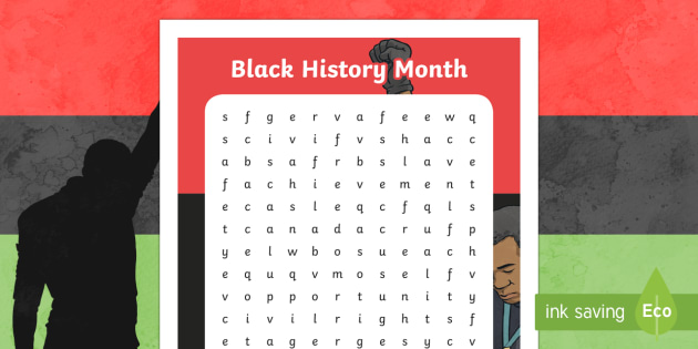 Black History Month Word Search - Black History Month in Canada, Canadian History, Multicultural, civil rights, word search, wordsearc