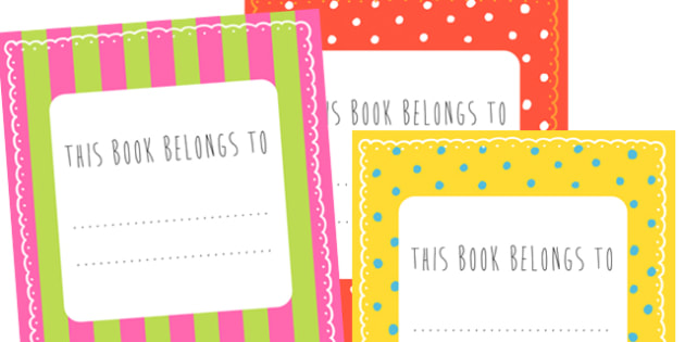 Patterned This Book Belongs to Labels - this book belongs to, patterned book name labels, book name labels, this book belongs to labels, spotty name labels
