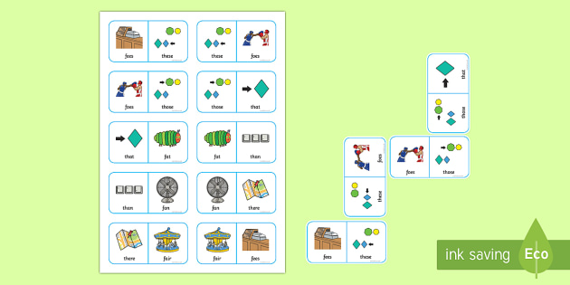 Voiced 'th' and 'f' Minimal Pair Dominoes - articulation, phonology, speech sounds, voiced th, minimal pairs, dyspraxia, fricatives