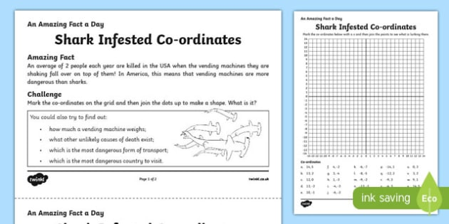 Shark Infested Co-ordinates Activity Sheet, worksheet