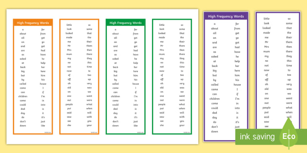 High Frequency Words Bookmarks - Bookmark, Bookmark Template