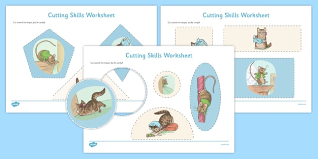Beatrix Potter - The Story of Miss Moppet Cutting Skills Worksheet - beatrix potter, miss moppet