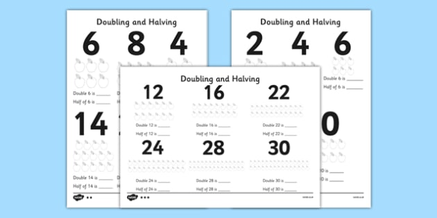 Doubling and Halving Differentiated Activity Sheet Pack - doubling, halving, differentiated, activity, worksheet