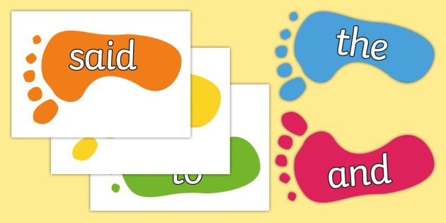 100 High Frequency Words on Footprints - High frequency words, hfw, DfES Letters and Sounds, Letters and Sounds, display words