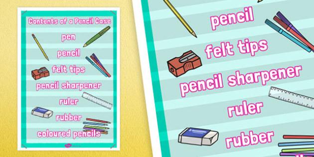 Contents of a Pencil Case Poster - contents, pencil case, poster