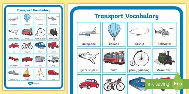 Transport Vocabulary Poster - transport, vocabulary, poster